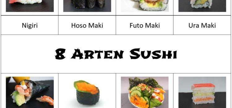 8 Arten Sushi