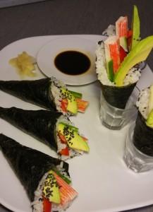 Temaki angerichtet - handgerollte Sushi