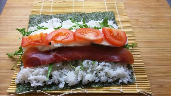 Italienisches Sushi als Futo Maki