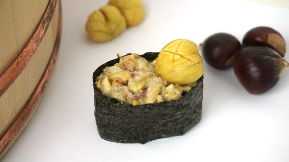 Gunkanmaki Sushi mit Esskastanien