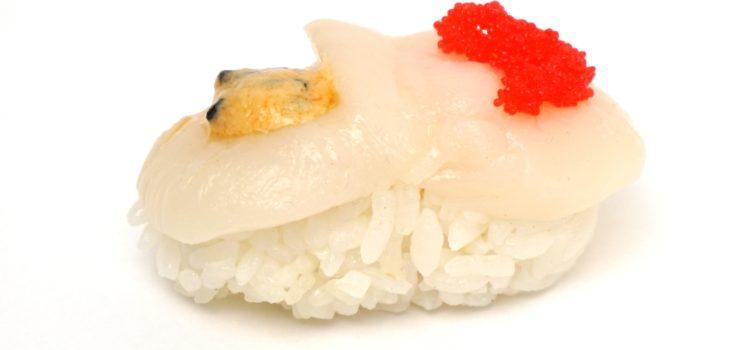 Nigiri Sushi mit rohen Jakobsmuscheln