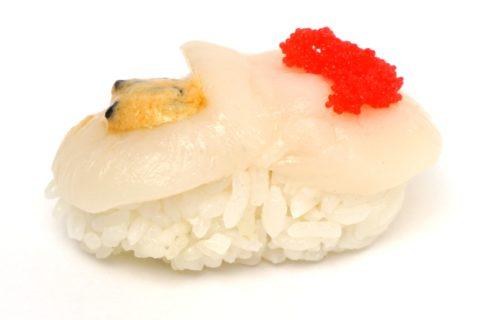 Nigiri Sushi mit roher Jakobsmuschel