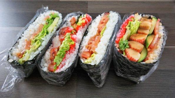 4 Varianten Sushisandwich Onigirazu