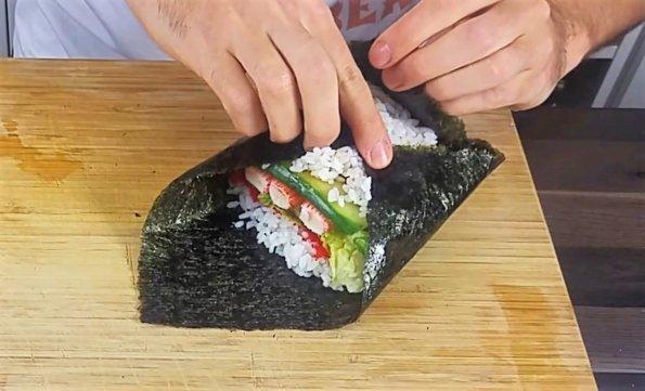 Sushisandwich verschließen