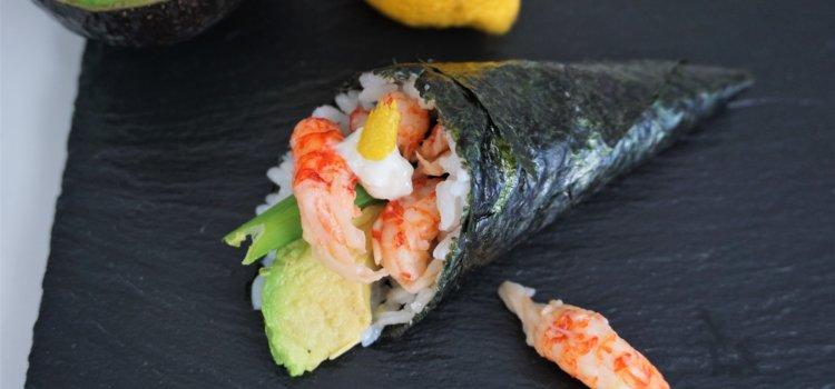 Temaki Sushi mit Flusskrebsen