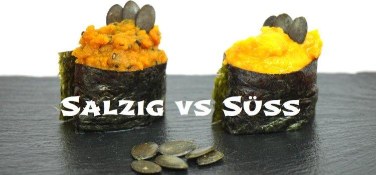 Gunkanmaki Sushi mit Hokkaidokürbis-Pürre