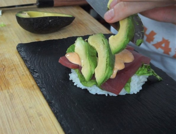Sushi Burger fertig belegen